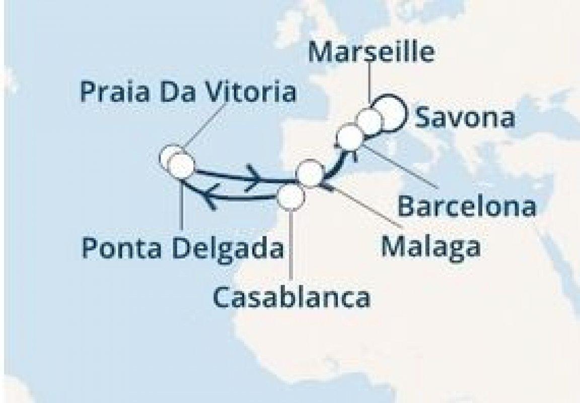 KRIŽARJENJE - AZORI, MAROKO, ŠPANIJA, FRANCIJA, ITALIJA